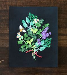 Charming on a kitchen wall, this art print features a bouquet of herbs, disguised as a flower bouquet.