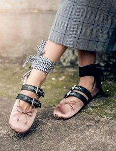 Miu miu balerina shoes ss16 ballet flats plaid skirt business style