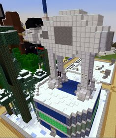 Star Wars: AT-AT Walker with Dancing Villagers in Arena Below on the Skrafty Minecraft Server by TrulyBratiful