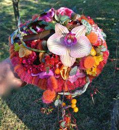 Colourful Gregor Lersch bridal design. #wedding #floralart #orchid #wool