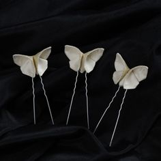 Hair Pins Silk Origami Butterfly