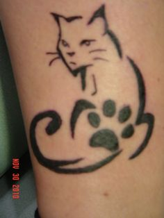Found this and think it could be a good tattoo for a memory piece for my Kitty Chaos who was just put down. I would want it on the top of my foot with his paw print, name and dob- dod