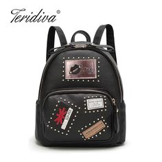 a18e84550c54 Teridiva New Fashion Women PU Leather Motorcycle Backpack Punk Style Rivet Small  Women Backpacks For Teenage