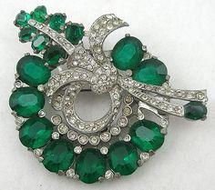 Eisenberg Green Rhinestone Wreath Brooch - Garden Party Collection Vintage Jewelry