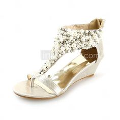 [EUR € 32.99] Leatherette Wedges Sandals With Imitation Pearl Party / Evening / Casual Shoes (More Colors)