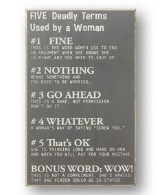 Love this Gray 'Deadly Terms Used by a Woman' Sign on #zulily! #zulilyfinds