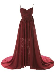 Dresstells® New Sexy Backless Chiffon Lace Wedding Dresses Prom Dresses Evening Dress New Fashion 2014 Burgundy Size16