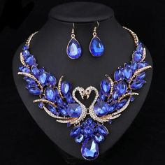 Shop New Fashion crystal necklace earrings indian luxury jewelry set bridal wedding party prom jewelry fancy christmas gift for women Prom Necklaces, Prom Jewelry, Bridal Jewelry Sets, Fine Jewelry, Geode Jewelry, Crystal Jewelry, Crystal Necklace, Necklace Set, Pendant Necklace