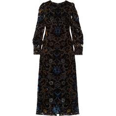 Anna Sui Devoré velvet maxi dress (16.200 ARS) ❤ liked on Polyvore featuring dresses, gowns, black, print maxi dress, ruched maxi dress, maxi dresses, empire waist dresses and multi color maxi dress