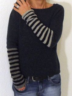 Women's Hot Sale Long Tops-Pin Casual Stripe Round Neck Long Sleeves T Shirt – immorgo Casual Sweaters, Casual Shirts, Pull Angora, Ravelry, Okapi, Beltane, Casual Tops For Women, Sweater Shop, Sweater Jacket
