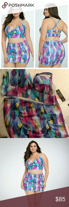 Torrid Abstract Stripe Twist swimsuit 2pc 1x Top- kaleidoscopic, multi-color striped long line style has underwire padded cups modeled after our Push-Up Demi Bra. The comfy adjustable straps can be worn straight or crossed, while the adjustable back has a hook closure and a peeakboo cutout. Lined with power mesh. Bottom- A vibrant print for a spring breaker, this multi-color, abstract stripe skirt is fun, while the ruched high waist cut is flattering for your tummy. Both the brief and skirt…