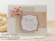Inspired by Stamping, Joanna Munster, Sweet Valentine's Stamp Set, Fancy Labels 3 stamp set, IBS Washi Tape, IBS Flowers, CAS card, shabby chic card