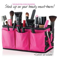 Get it together! Fill this cavernous open-top beauty organizer to the brim and keep counters clutter-free!Removable inside dividers and handy outside pockets organize your Avon essentials. Conveni…