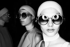 Models backstage at the Anya Hindmarch show during London Fashion Week