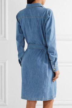 KENZO - Embroidered Washed-denim Shirt Dress - Mid denim - FR42