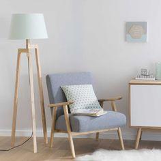 Fancy Dreibein Stehlampe aus Holz Pastel H