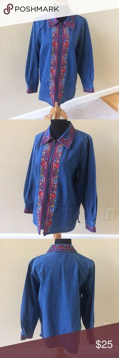 "Blaine Trump Lite Embroidered Denim Jean Jacket M Beautiful and Unique Blaine Trump Women's Lite Weight Embroidered Denim Jean Jacket  Coat This Jacket is Pre-Owned but in Excellent Condition, It features a zip up front with 2 front lower pockets. It is made of 100% Cotton  The size is a Medium  Bust is 44"" (22"" flat across back pit to pit) Length is 28"" (down center of back from bottom of collar). Blaine Trump Jackets & Coats Jean Jackets"