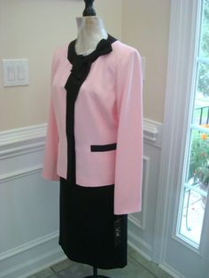 Pink Black Bow Neck Snap Button Jacket Skirt