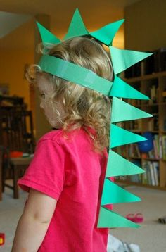 Paper Dinosaur Hat Kids Themed Party Craft Idea