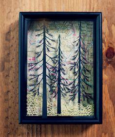 forest I . cut paper shadow box