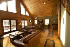 "Main level cathedral room in ""It's All Good"" rustic log cabin on State Pk Rd in Deep Creek Lake MD"