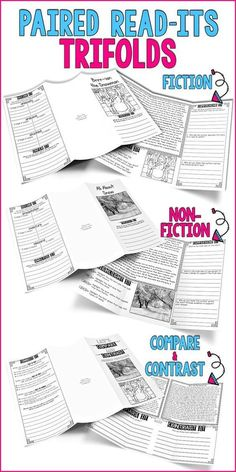 Paired Read-Its Trifolds | Fiction | Non-Fiction | Compare & Contrast Hi Friends… I just wanted to show you some of my newest resources :) I hope you can find them useful in your classroom! Click the images to check t…