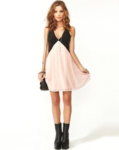 Black Pink Foam Deep V Neck Hollow Chiffon Dress. Casual DressesSummer ... d726ad3d07c3
