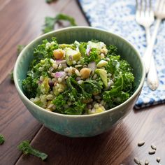 Kale, Barley and Feta Salad with a Honey-Lemon Vinaigrette | Kale, Barley, Feta, Chickpeas, Avocado, Sunflower Seeds and Red Onion are tossed in a tangy Honey-Lemon Vinaigrette. #lunch #kale