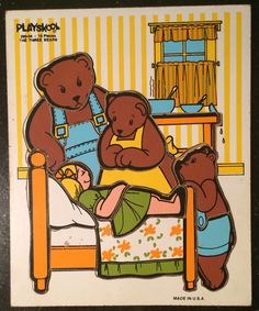 Vintage wooden puzzle goldilocks and the three bears  on Etsy, $12.00  vintage nursery Vintage storybook nursery