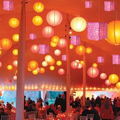 Wedding Favors & Party Supplies - Favors and Flowers :: Wedding Favor Themes :: Asian Theme Wedding Favors :: Damask Square Paper Lanterns