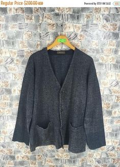 Yohji Yamamoto Ys For Men Cardigan Linen Wool One Size Designer Japan Vintage Yohji Ys Button Cardigan Gray Jacket Button Sweater  Tag reads:  One Size (check measurements below)  Measurements: Width (armpit to armpit): 23.5 Length (shoulder to end of garment): 29.5  Made in Japan