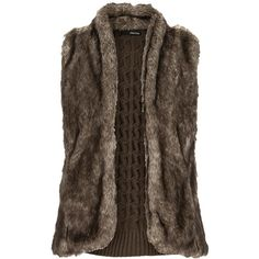 Faux fur vest (78 AUD) ❤ liked on Polyvore featuring outerwear, vests, jackets, cardigans, fur, faux fur waistcoat, faux fur vest, brown vest, vest waistcoat and brown waistcoat