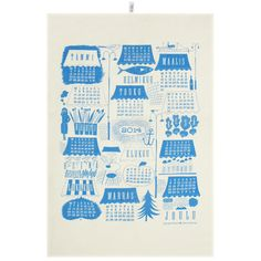 Kalenteri 2014 keittiöpyyhe, sininen