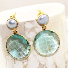 An-853 For Sale! Swiss Blue Quartz&Pearl 24k Gold Plated Earring Jewelry #Handmade #Contemporary