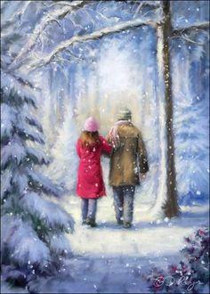 Lovers in painting - Daniel Rodgers - Walk in the snow - Comtoise walks , Christmas Scenery, Christmas Pictures, Christmas Art, Winter Christmas, Winter Szenen, Hello Winter, Winter Illustration, Illustration Art, Illustrations