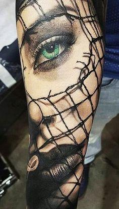 Green Eyed Girl Forearm Tattoo @thistookmymoney
