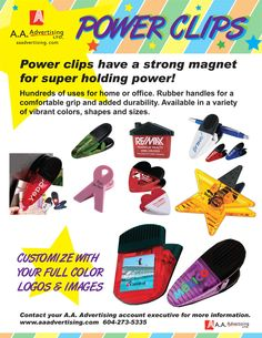 POWER CLIPS! Magnetic utility clips for home and office. Product Ideas, Vibrant Colors, Magnets