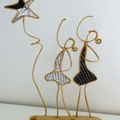 Danseuses étoiles - figurines en ficelle de kraft armé et papiers originaux