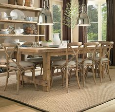 LOVE these salvaged wood dining room tables... def will splurge :)