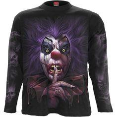 T-Shirts Spiral Direct Madcap Long Sleeve T-Shirt Clown/Skull/Joker/Goth/Horror/Undead Shrunken Head Tattoo, Joker, Tattoo T Shirts, Tattoos, Great T Shirts, Cool Sweaters, E Bay, Workout Tops, Black Hoodie