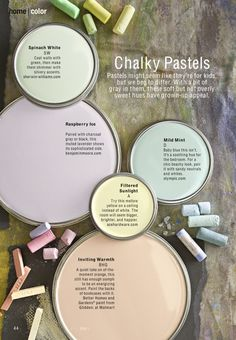 Chalky pastels for 2013. #design #decor #interiors. Soft and soothing palettes...