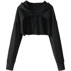 Cape Drop Shoulder Crop Hoodie Black (53 BRL) ❤ liked on Polyvore featuring tops, drop shoulder tops, cut-out crop tops and crop top
