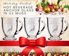 Holiday Etched Glass Hot Beverage 16oz Gift Mug