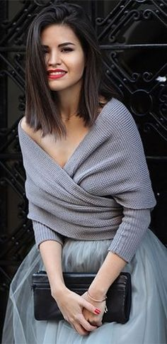 Women's fashion | Grey off the shoulder cross wrap V sweater with tulle skirt