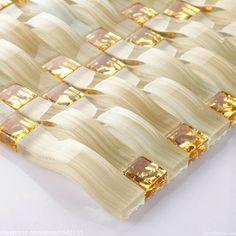 mattonelle marroni con decori fiori oro : Economico oro cristallo tessuto di vetro decor mosaico piastrelle ...