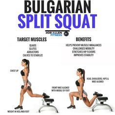 Workouts to Build a Round Booty and Toned Legs Want an awesome leg exercise that gives you a ton of value! Bulgarian Split Squats work your glutes, quads, adductors and even calves (to stabilize). Think of squats, lunges and romanian deadlifts, exercises Glute Challenge, Straight Leg Deadlift, One Leg Deadlift, Preparation Physique, Powerlifting Training, Weightlifting, Muscle Imbalance, Squats And Lunges, Workout Exercises