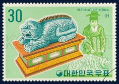 Postage Stamps of Korean Musical Instrument Series, eu, traditional culture, jade green, yellow, 1974 04 20, 국악악기 시리즈 (제2집), 1974년 04월 20일, 891, 어,  postage 우표