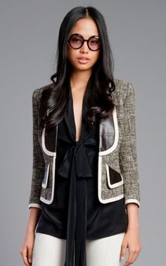Tracy Reese Leather Trim Jacket #tracyreese #jacket