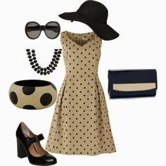 Cream black dotted skirt purse hat and shoes