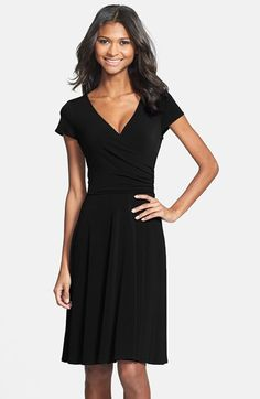Maggy London Cap Sleeve Matte Jersey Faux Wrap Dress | Nordstrom